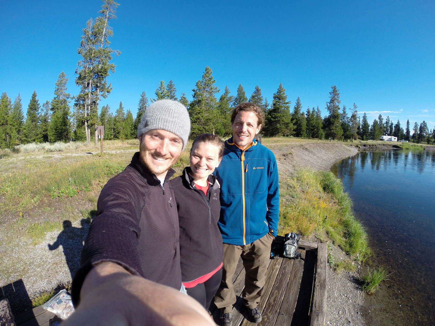 One campsite left in West Yellowstone so we shared with our new friend Sebastian from Germany