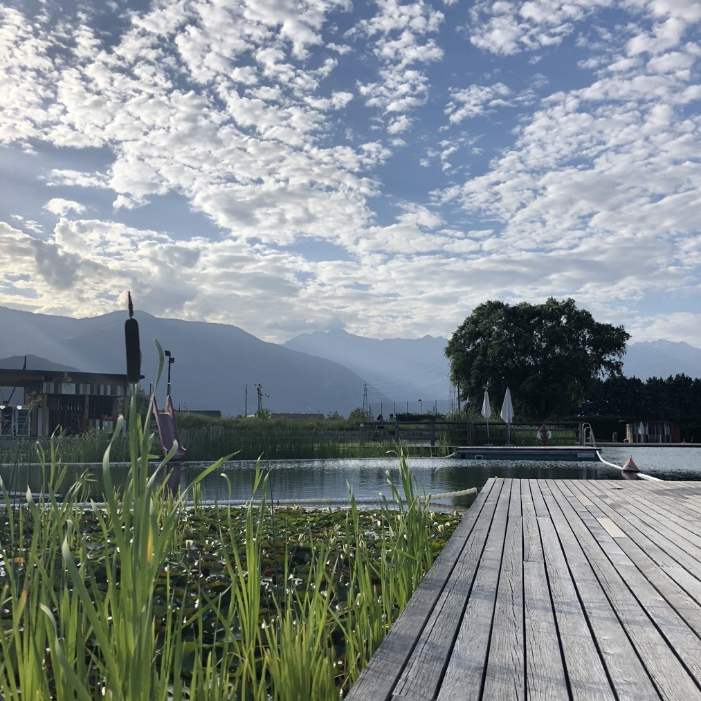The beauty of the silence at the artificial lake in Gargazon, South Tyrol
