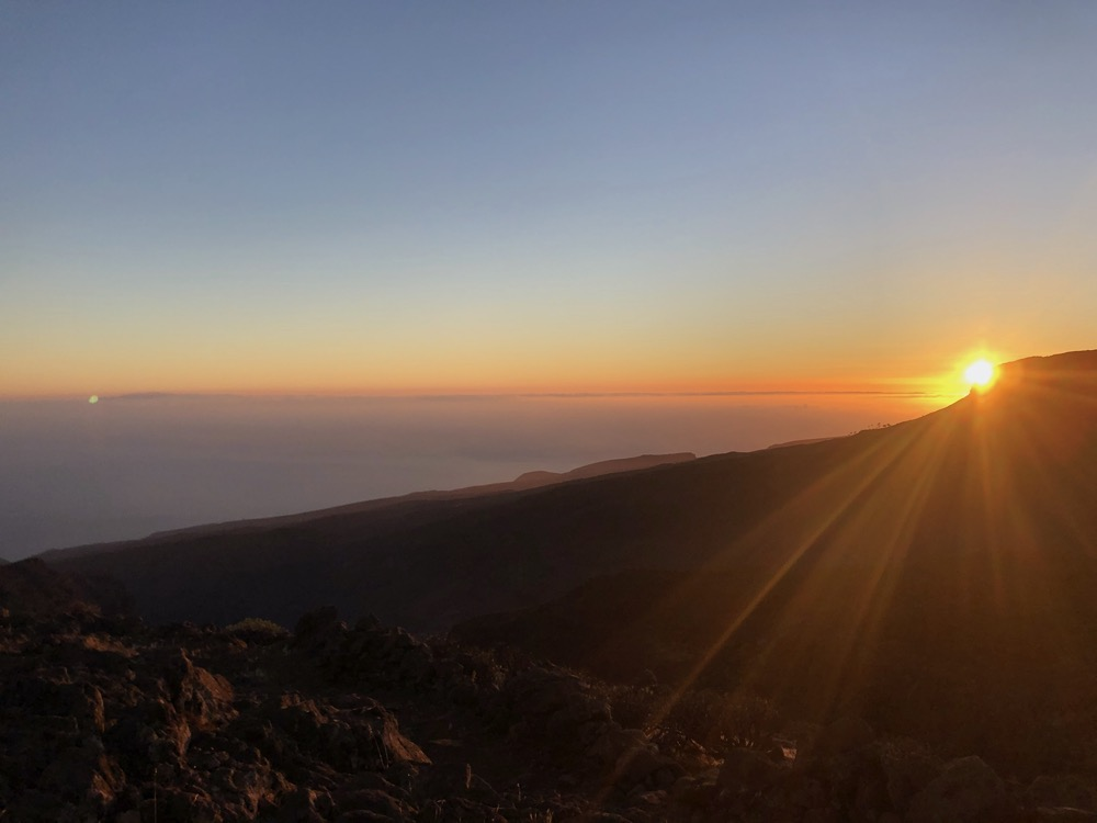 unexpected sunrise over Fortaleza - La Gomera