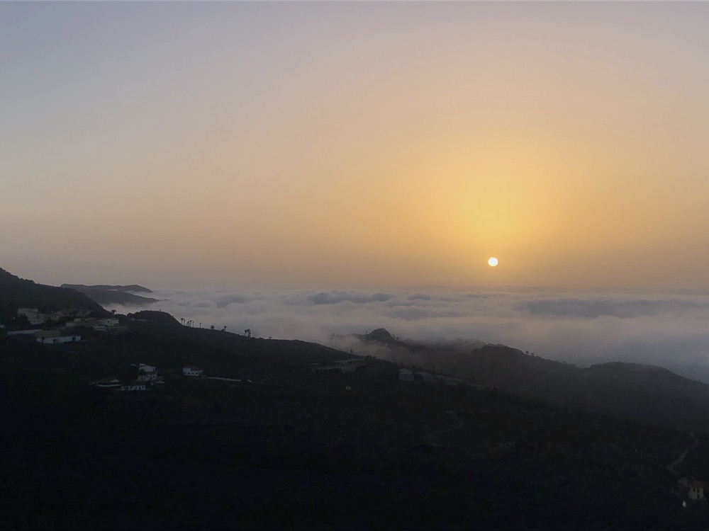 Sunrise over the clouds on La Gomera