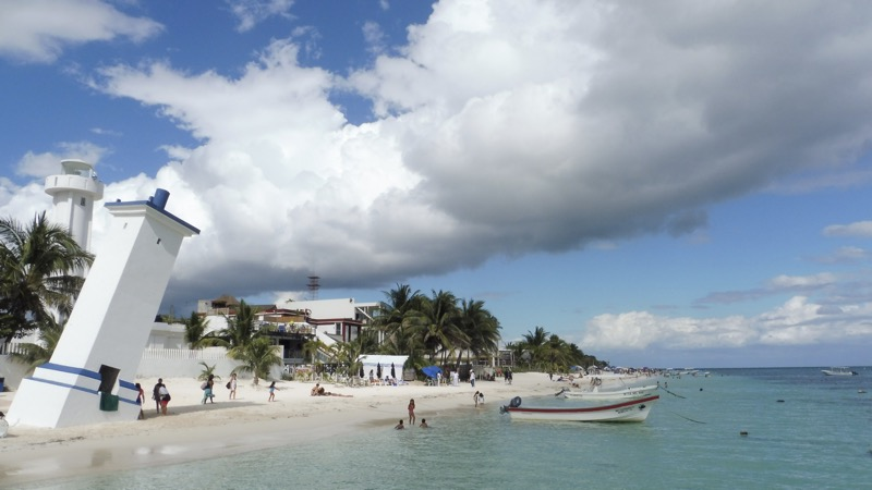 Puerto Morelos and it's famous crooked lighthouse, due to an hurricane
