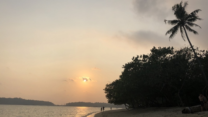Walking on the beaches in Koh Chang at sunset.