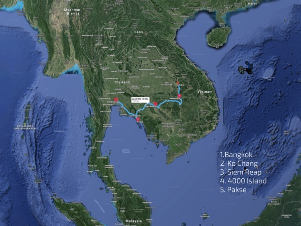Irene's Travel Route