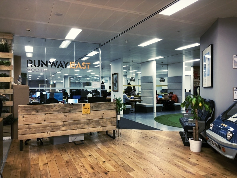 At the co-working space Runway East in Shoreditch, London