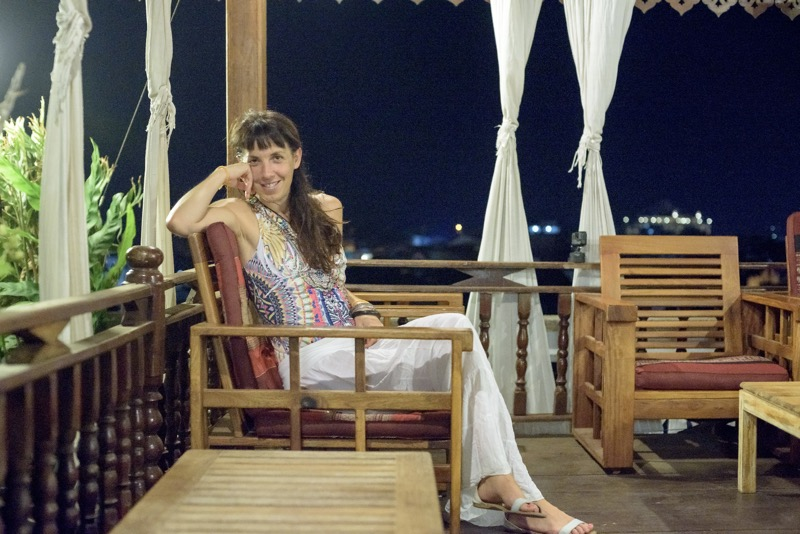 Irene at the roof top bar of her hotel in Pakse
