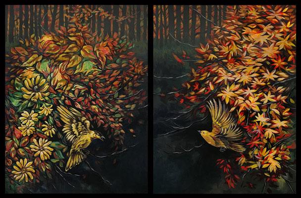 """""""Reunion"""" - diptych - acrylic on canvas - 24"""" x 36"""" each panel"""