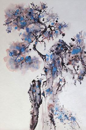 Forêt céleste et pierre littorale - 80x60 cm - 2015
