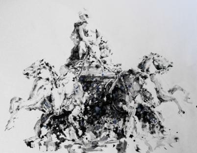 Les Terreaux Place au chariot d'écume IV - 60x80 - Aquarelle