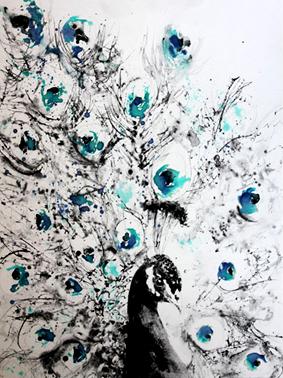 Le Paon Bleu - 80x60cm - 2017