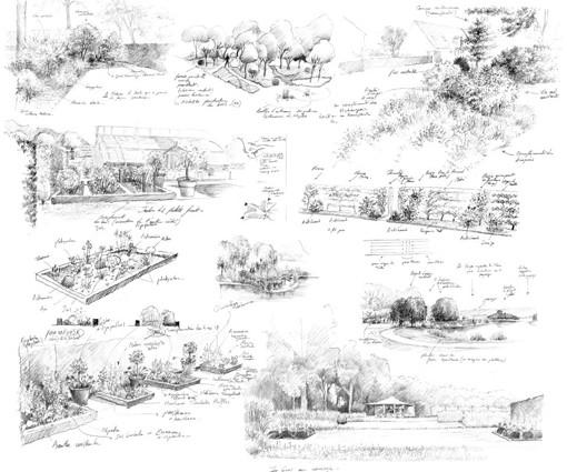 Compilation dessins de projet de jardin en phase esquisse