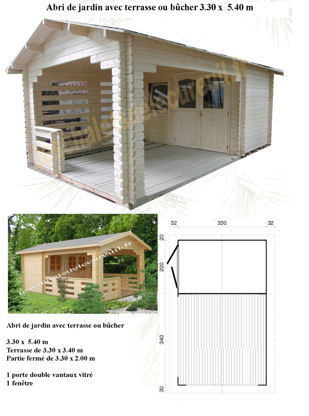 Abri De Jardin Atypique modèle mono pente en 3x2.40 x 5.30 m et 3x2.40 x 5.90 m