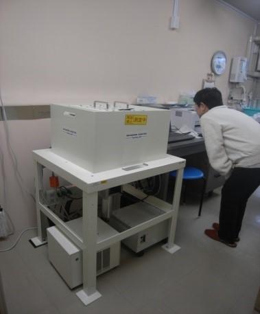 ⑥ 測定器隣のパソコンに測定結果が表示されます。市HPで測定下限値まで公表しています。