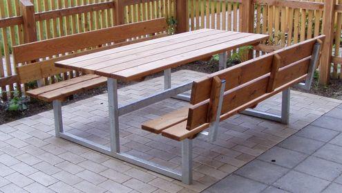 Bank & Tisch (Lärche, verzinkter Stahl)