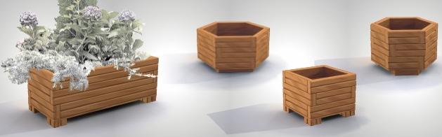 Holzblumentopf in verschiedenen Formen