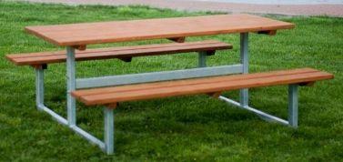 Bank & Tisch ohne Rückenlehne (Lärche, verzinkter Stahl)
