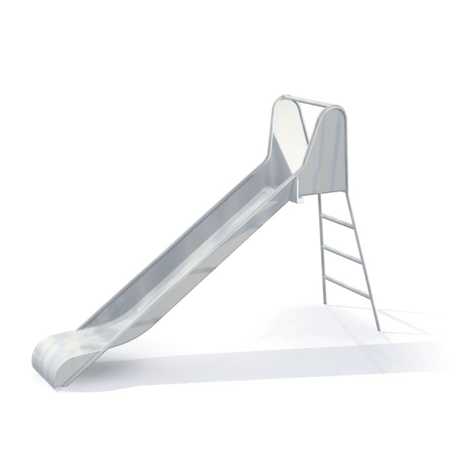 Freistehende Edelstahlrutsche mit Leiter