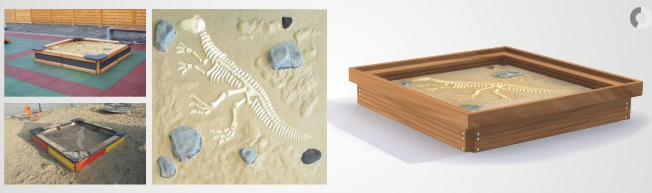 Sandkästen aus Lärchenholz, Dinosaurier-Skelett als Deko