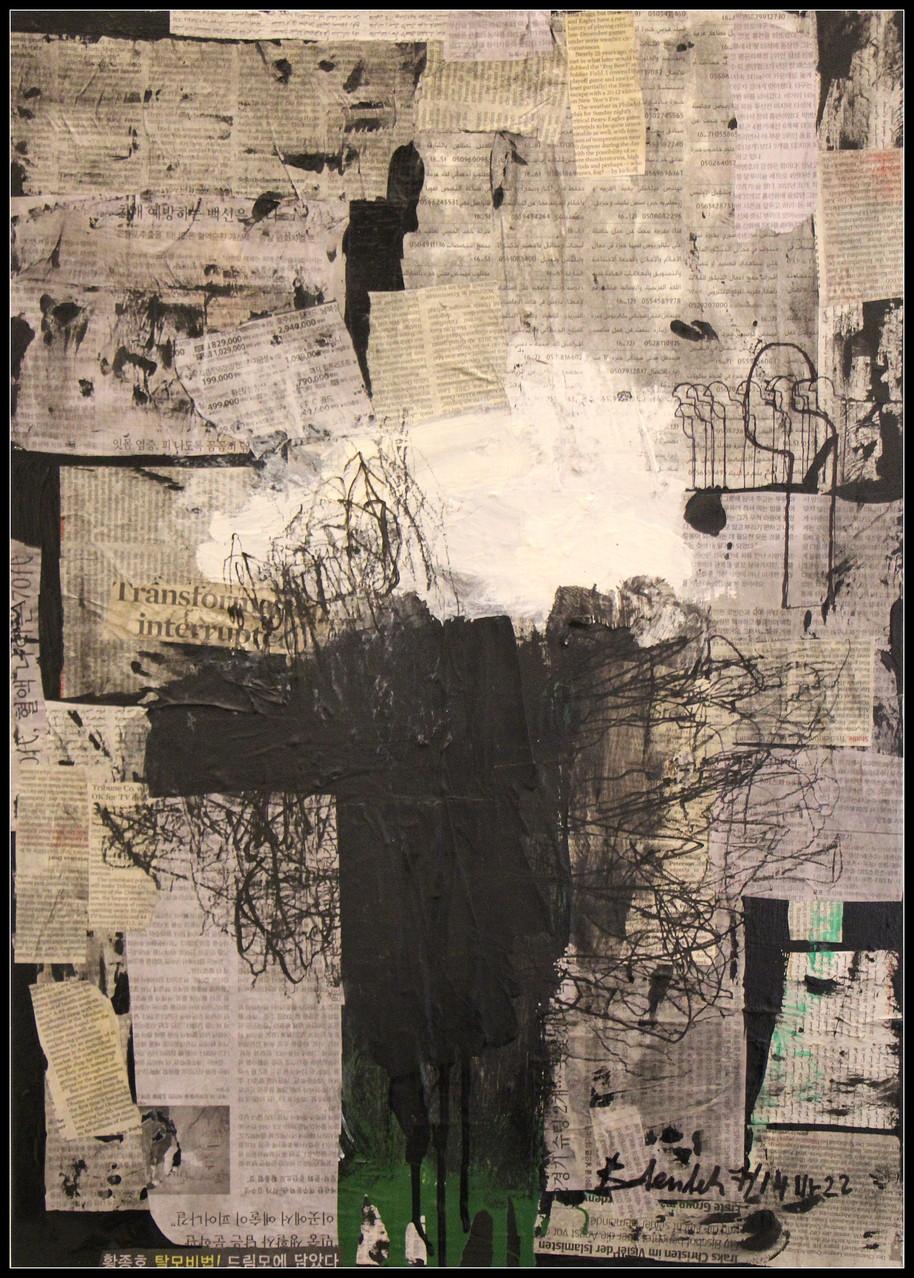 Silentium Nr.22 / 70 x 50 Acryl, Lack, Kohle auf Zeitung auf Leinen