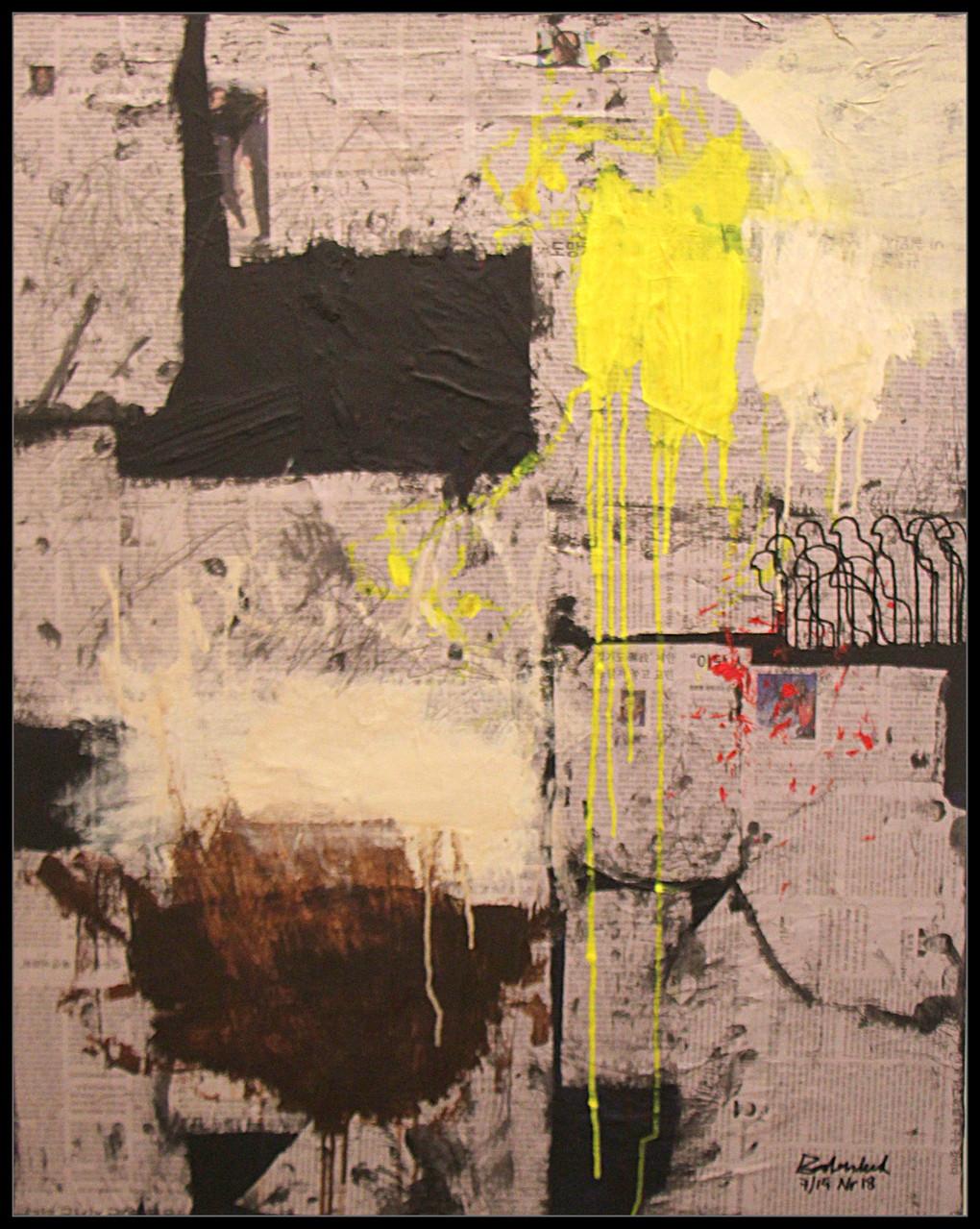 silentium Nr.18 / 100 x 80 Acryl, Lack, Kohle auf Zeitung auf Leinen