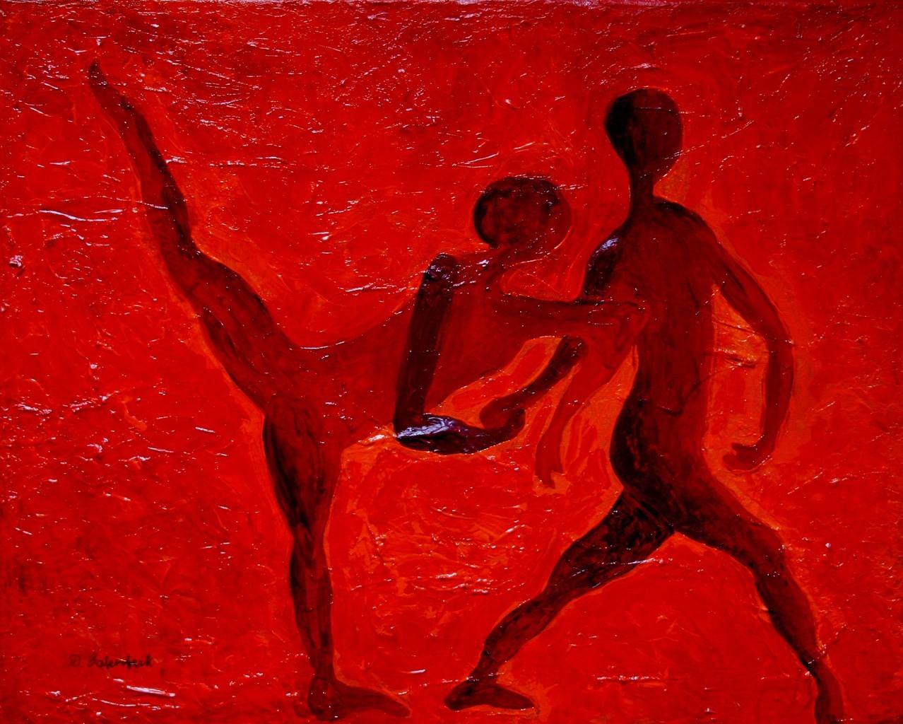 Der Tanz 2 / 50 x 60 Acryl auf Papier auf Pressspann