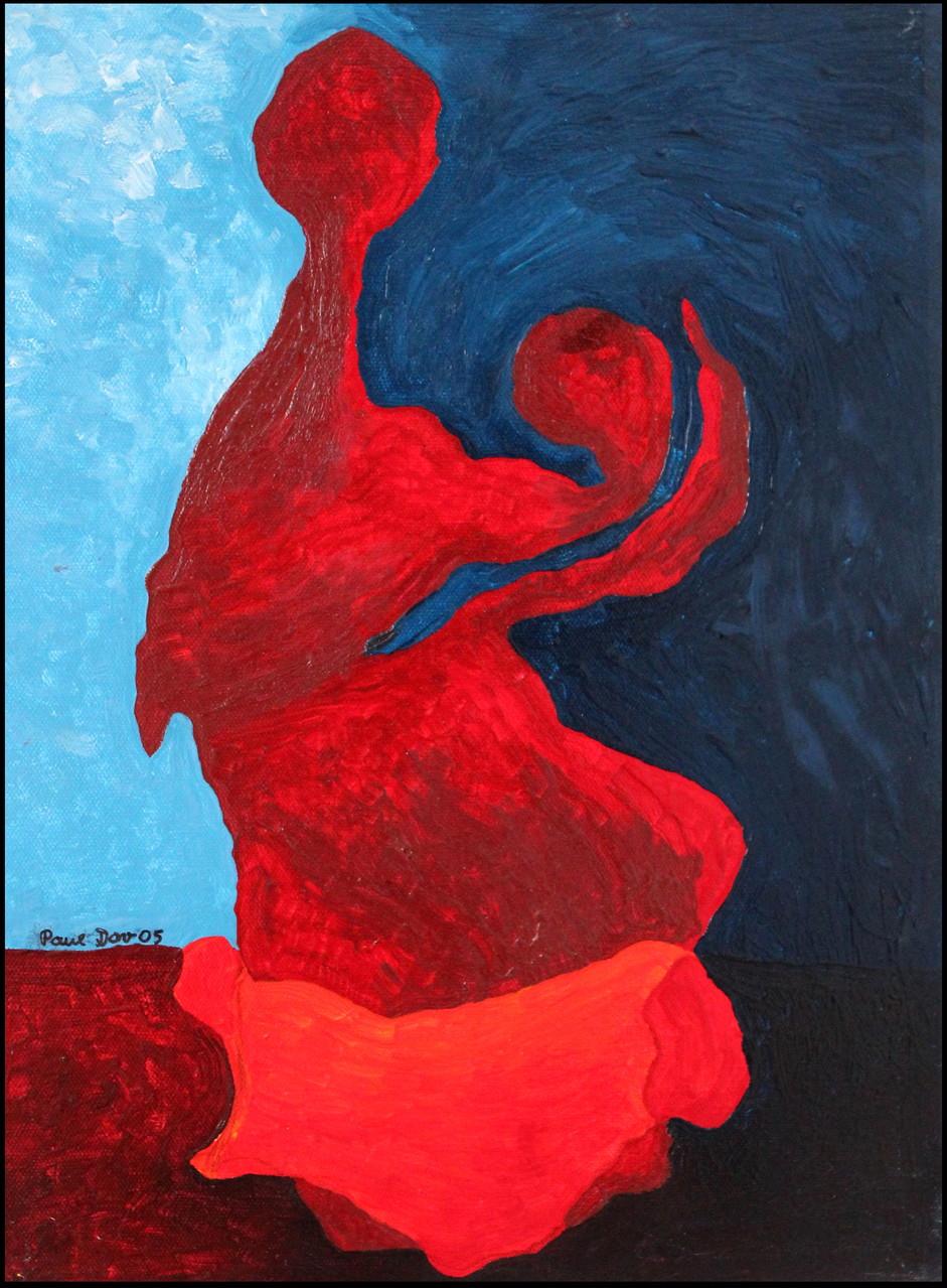 Mutter mit Kind und Mantel /40 x 30 Acryl auf Leinwand