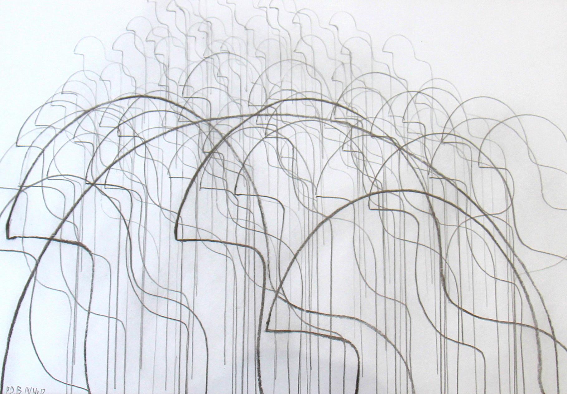 silentium Nr.12/ 43 x 32 Bleistift, Kohle auf Papier