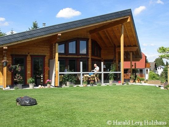 Architektenhaus - Blockhausbau - Blockhaus mit stilvoller Architektur - Bungalow - Hessen