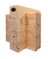 Wandaufbau für Massivholzhäuser nach klassier Art - Massivholz - Blockbohle - Lamellenbalken - © Blockhaus Kuusamo