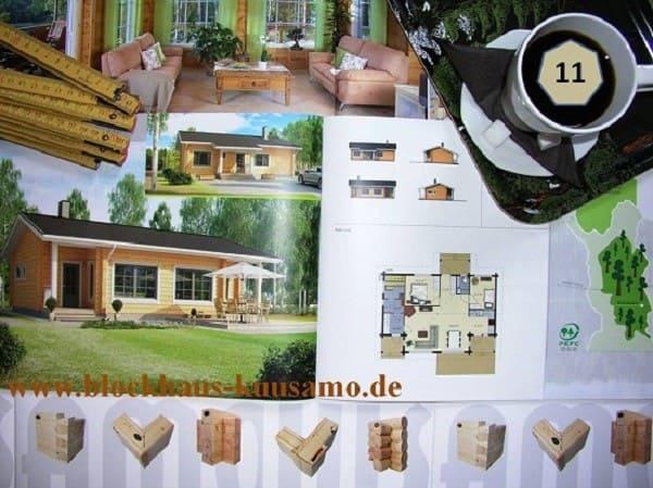 Wohnblockhaus mit Satteldach. Auf Wunsch mit finnischer Sauna - Dachneigung 20°