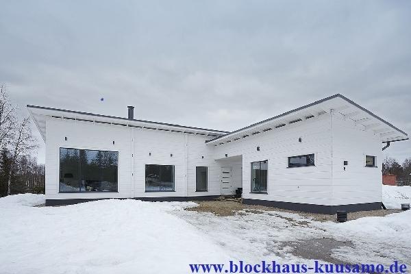 Wohnhaus in Weiß mit Pultdach - Freigeplantes Blockhaus  - Barrierefreies Einfamilienhaus - Bungalow