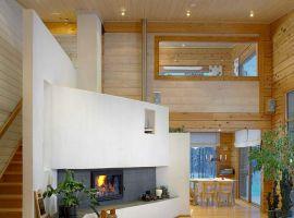 Kamin im Blockhaus - Energiekosten sparen - Holzheizung - Energieeffizienz - Massivholzhaus