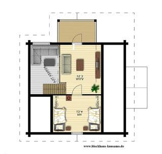 Kleines Blockbohlenhaus als Wohnhaus - Hausplanung -  Obergeschoss - Singlehaus - Wohnhaus - Lingen - Meppen - Bremen - Paderborn - Paderborn - Naturhaus - Lüneburg - Ökohaus -  Frankfurt - Kassel - Brandenburg - Hauskauf b