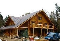 Rundbohlenhaus - Blockhausbau - Dacheindeckung - Bausatz nach Statik und regendicht - Ausbauhaus - Mitbauhaus