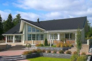 Exklusives Kuusamo Design-Blockhaus  -  barrierefrei bauen und wohnen - Skandinavische Holzhäuser nach finnischer Art  mit moderner und umweltfreundlicher Bauweise  - Senioren  - Seniorengerechte Häuser - Finnische Blockhäuser