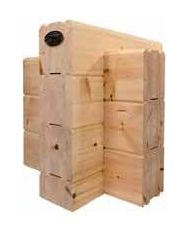 Wandaufbau für Massivholzhäuser in massiver Blockbauweise  -  Eckkämmung und Kreuzeck nach traditioneller Art - Polarholz - Polarkiefer - Leimholz - Finnische Holzhäuser