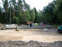 Baustelle - Blockhausbau - Blockhaus bauen -  Baubeginn - Fundament
