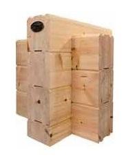 Massivholzhaus: Blockwand mit  Lamellenbalken ab 202x220 mm² aus Polarholz