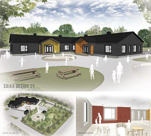 Kindergarten im Blockhaus - Gesundes Wohnen und Arbeiten in massiven Holzhaus - Architektenhaus - Holzbau - Blockhausbau - Hausentwurf - Gesundes Bauen - Raumklima - Ökohaus - Raumluft - Bauen
