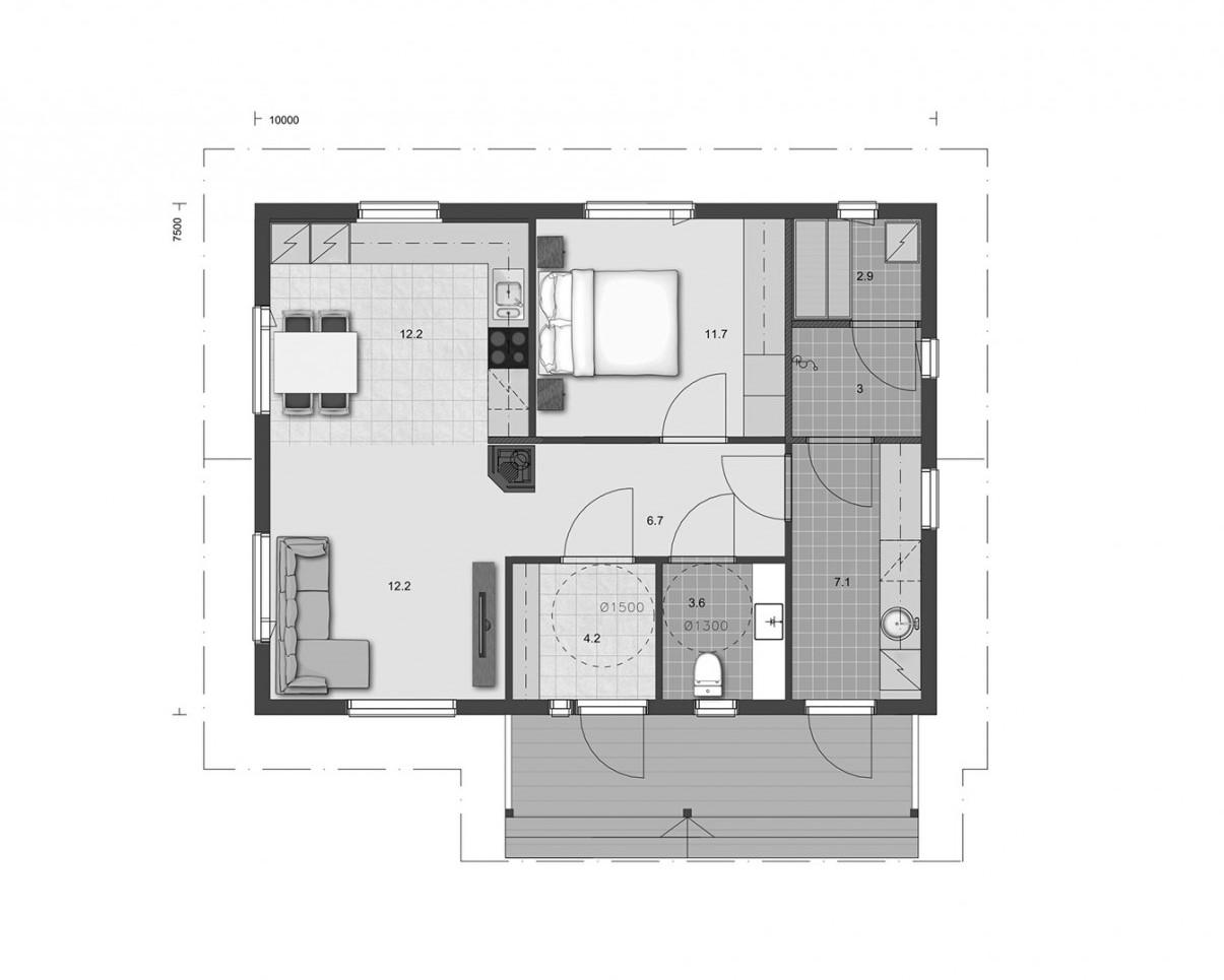 EG -Grundriss - Blockhaus Bungalow - Kleiderzimmer - Sauna - Barrierefreiheit - Blockhaus - Bungalow - 50plus haus -  Singlehaus - Massivholzhaus - Grundriss - Entwurf - Typenhaus - Architektenhaus