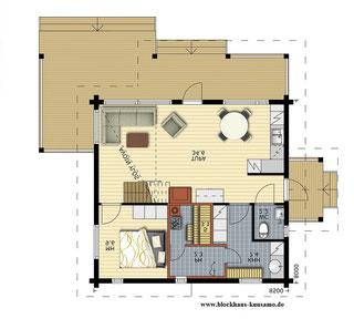 Kleines Blockhaus - Planung - Erdgescgoss - Entwurfsplanung