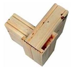 Kurze Eckverbindung im Blockhausbau für Architektenhäuser in Blockbauweise - Holzhäuser in Blockbauweise