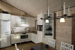 Blockhäuser planen mit Wohnküche - Blockhaus mit offener Küche - Kleines Einfamilienhaus in massiver Blockbauweise
