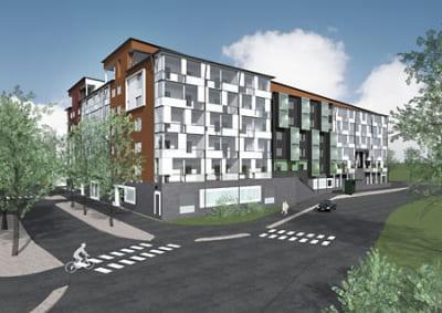 Hozhochhaus -  Hybridhaus, Mehrfamilienhaus, Brandschutz, Fertighaus, Holzhochhäuser, Holz-Hochhaus, Hybrid-Holzhochhaus, Wohngebäude, Fertighäuser