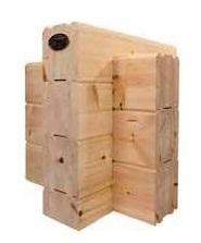 Traditionelle Eckverbindung im Blockhausbau für Wohnblockhäuser - Holzhäuser in Blockbauweise