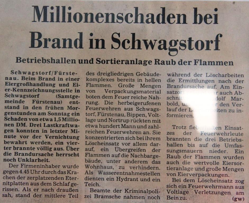 Zeitungsbericht zum Großbrand bei der Fa. Thale