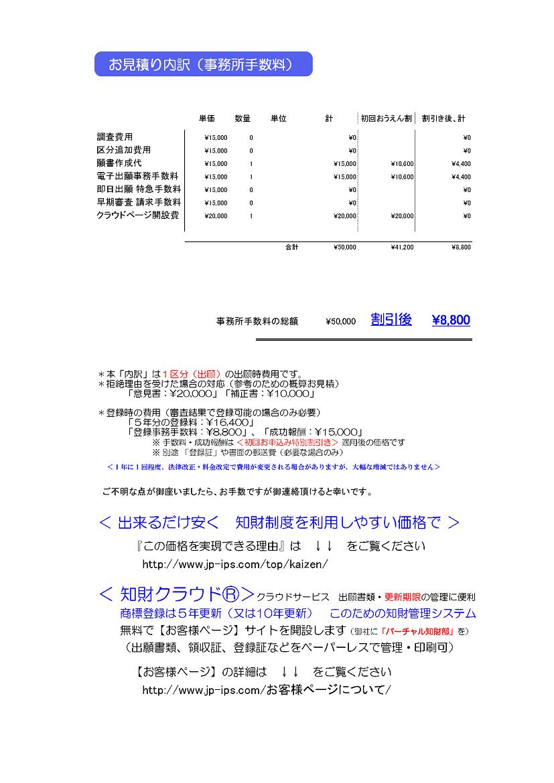 事務所手数料(出願時費用)の内訳