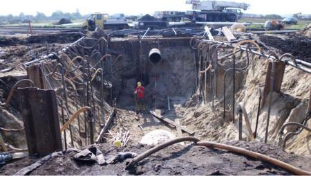 Baugrube für die Regenwasserkläranlage