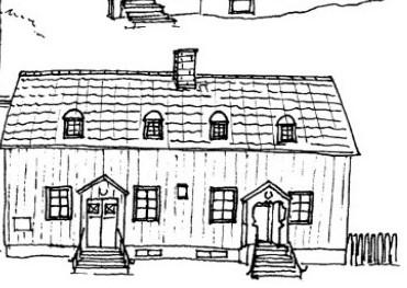 Teckning av Flatö skola från xx gjord av Malin Andersson