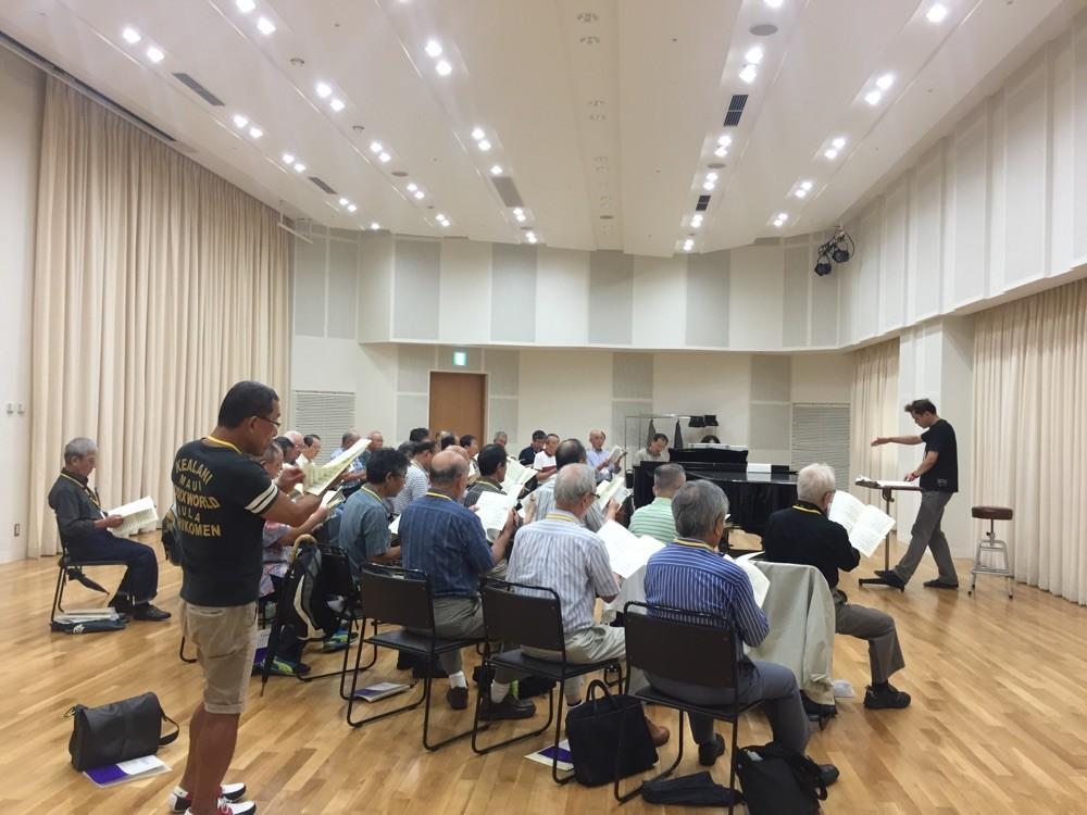 東京。男声練習。