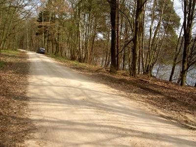 Geschotterte Straße am Wuckersee, kurz vor Carinhall bzw. dem Parkplatz am ehemals inneren Eingang des völlig zerstörten Waldhofs.